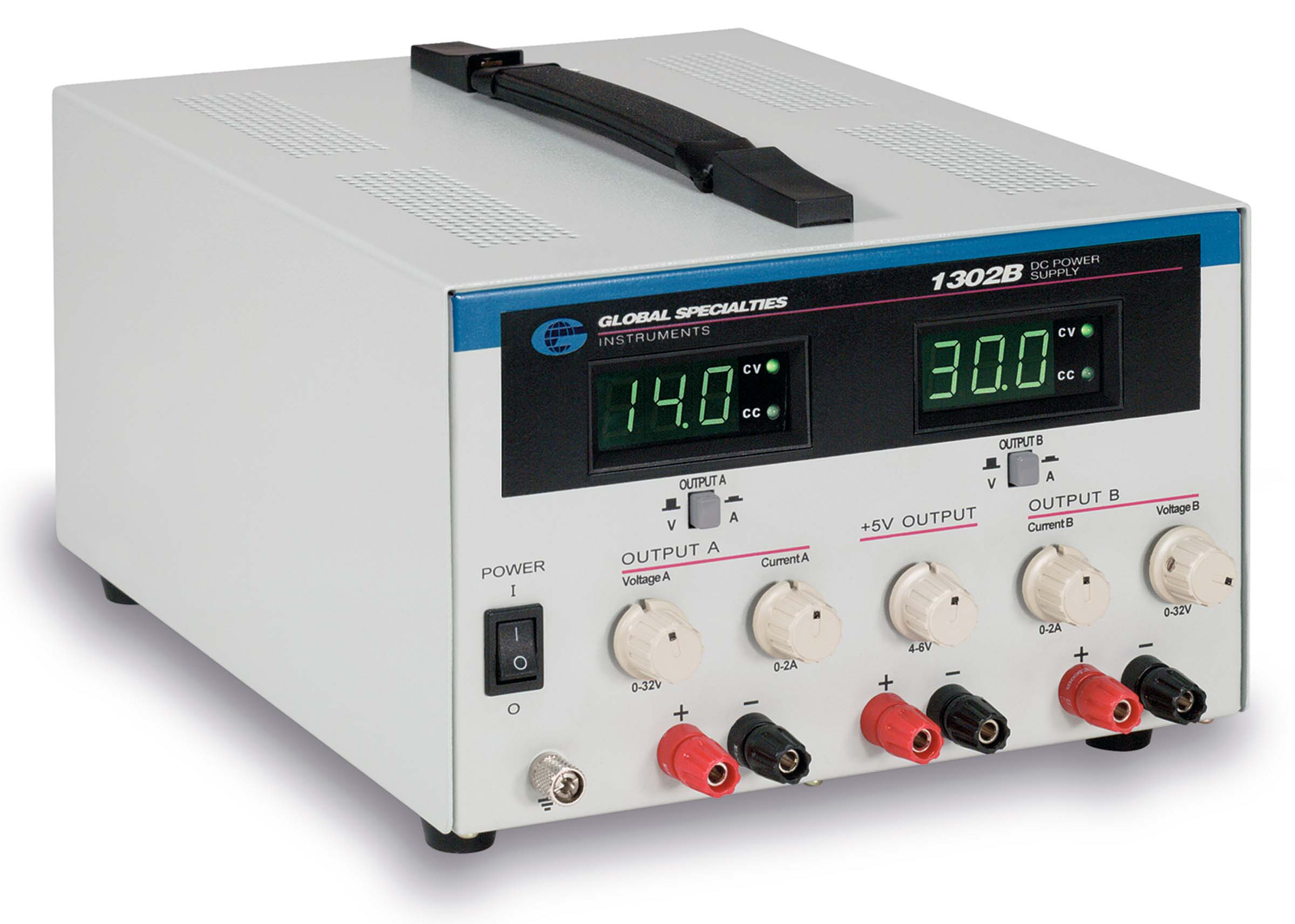 Global Specialties 1302B Triple Output DC Power Supply: 0-32V, 2A (2) & 5V, 5A