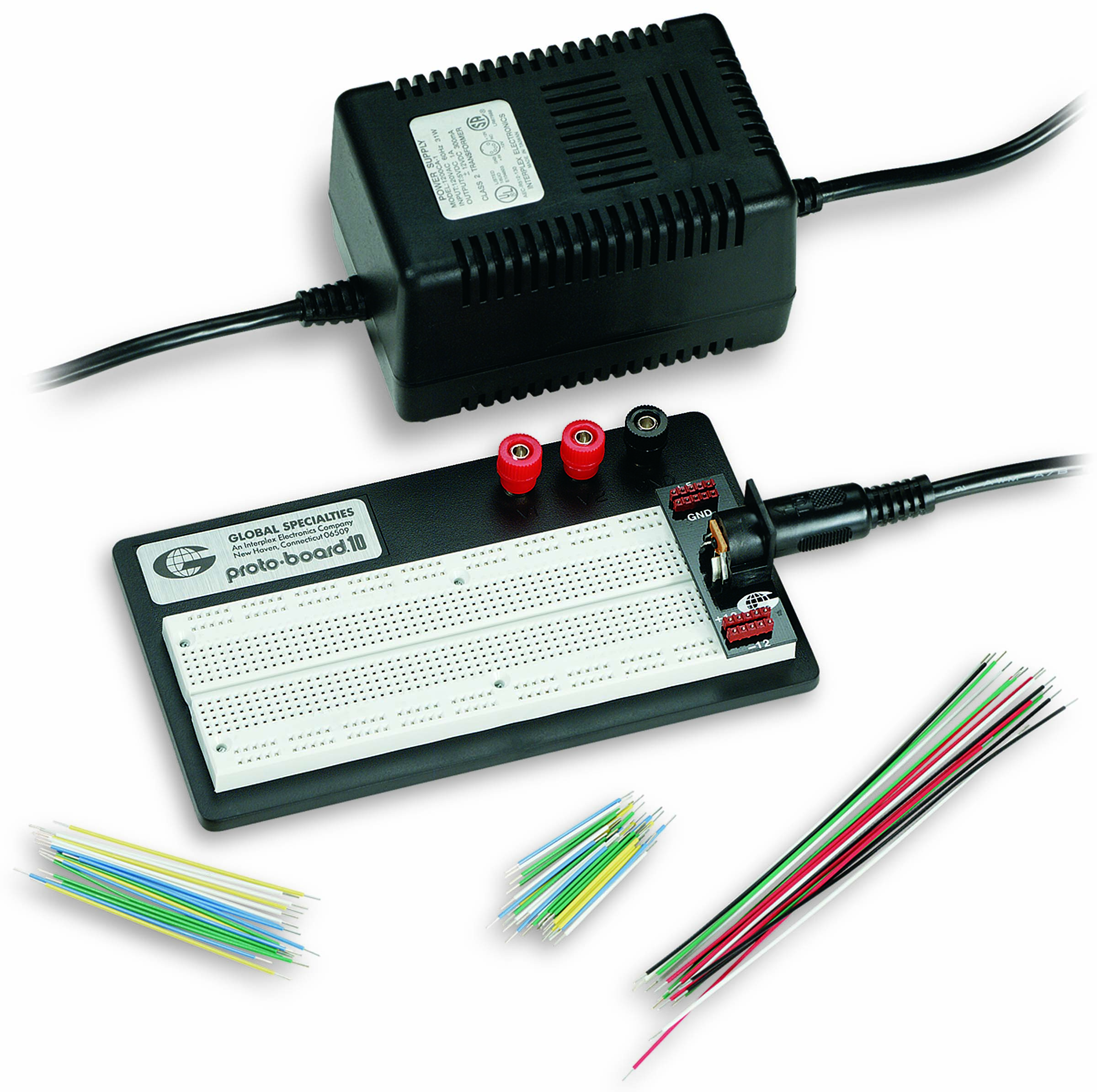 Global Specialties PRO-S-LAB Breadboard with Power Adapter & Jumper Wires