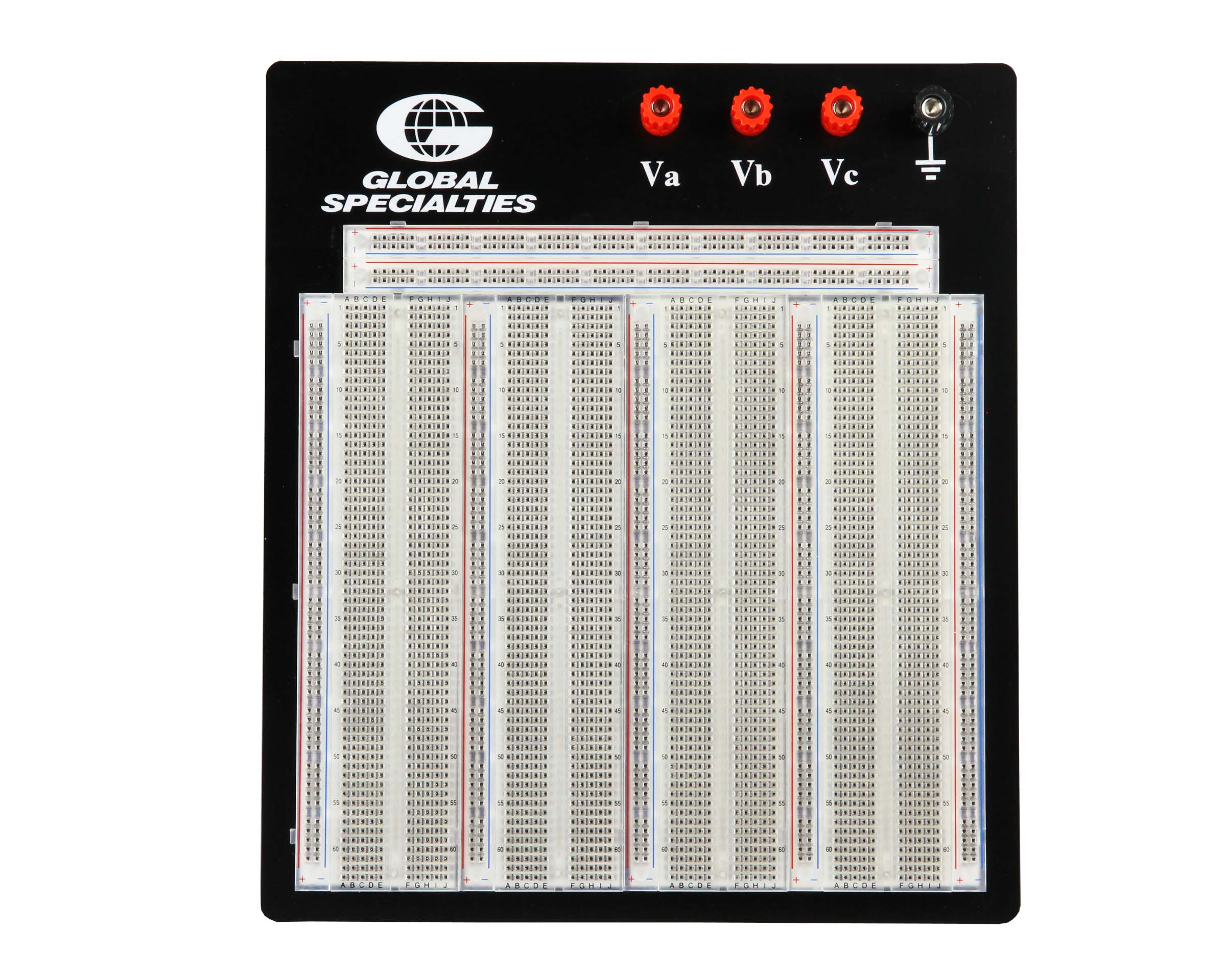 Click to preview image for the Global Specialties PB-326T Transparent 3220 Tie-Point Breadboard
