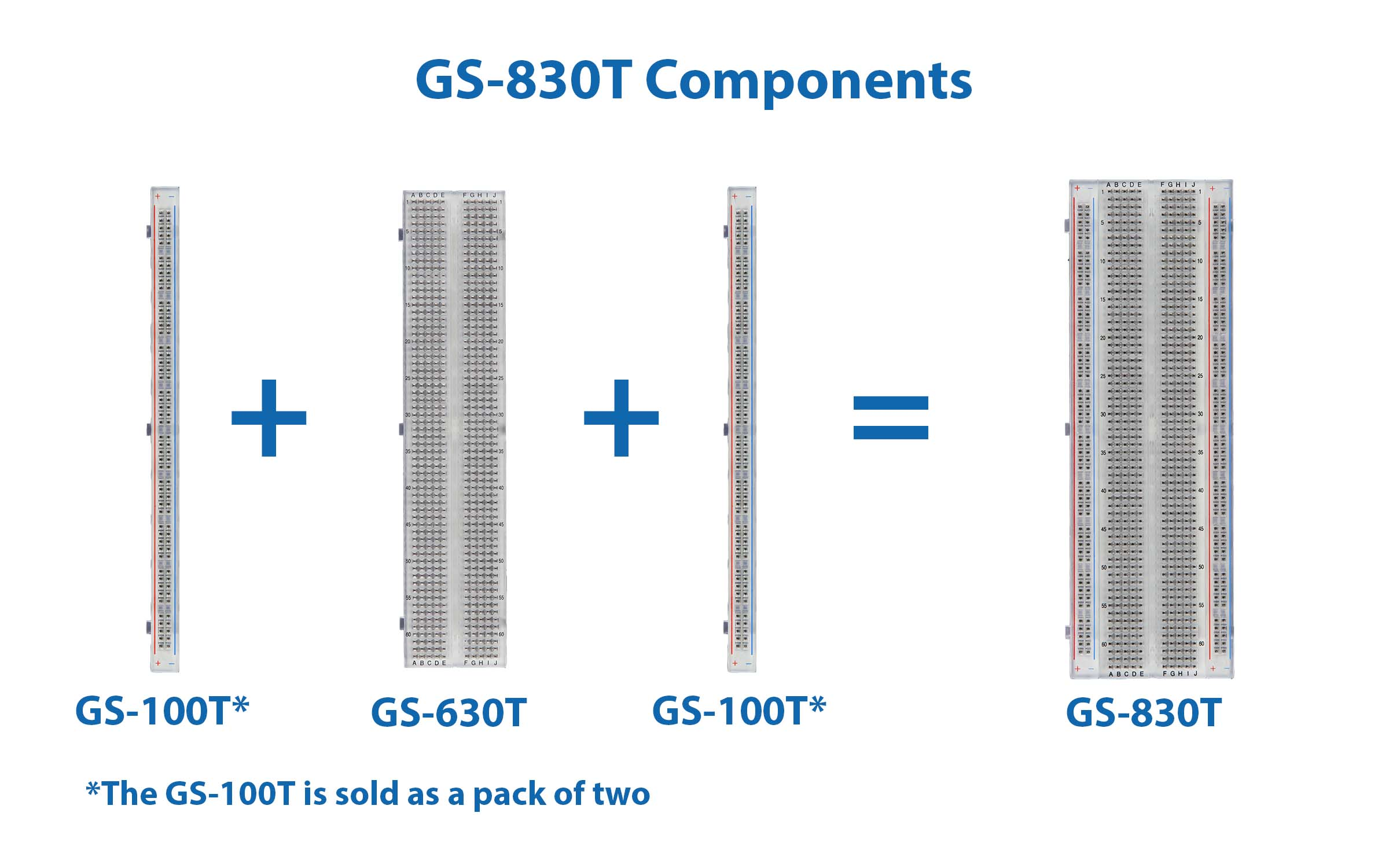 Global Specialties GS-830T Transparent Solderless Breadboard, 830 Tie-Points Photo