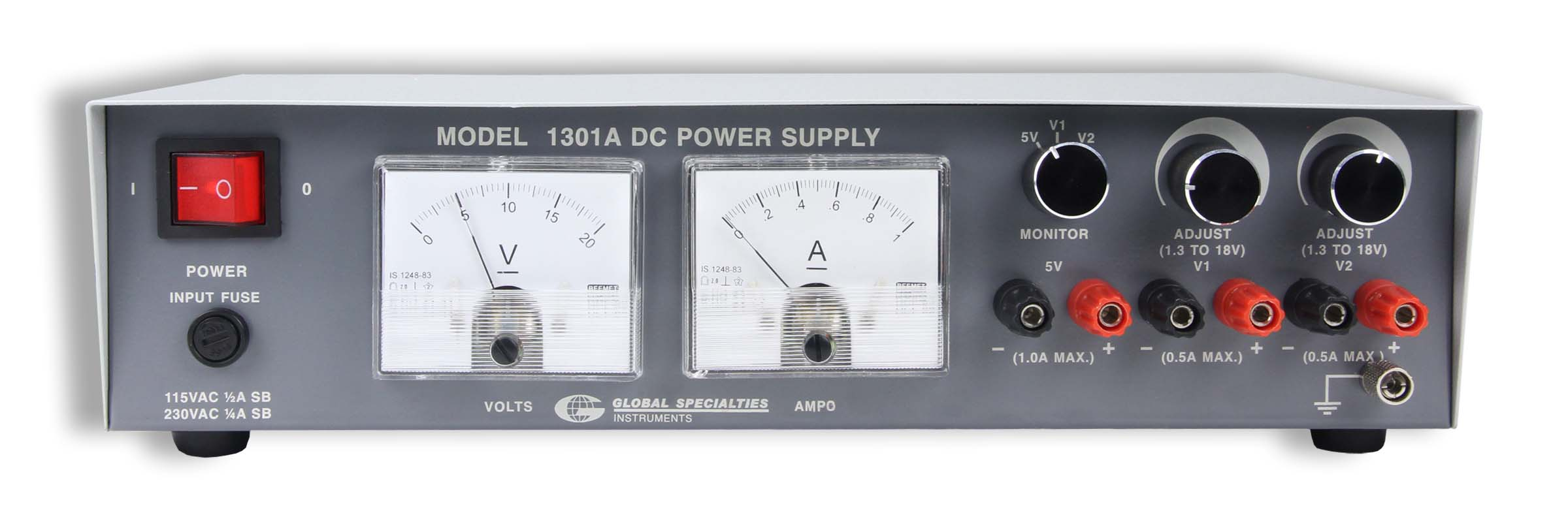 Global Specialties 1301A Triple Output DC Power Supply: 1.8-18V, 0-0.5A (2) & 5V, 1A (1) Photo