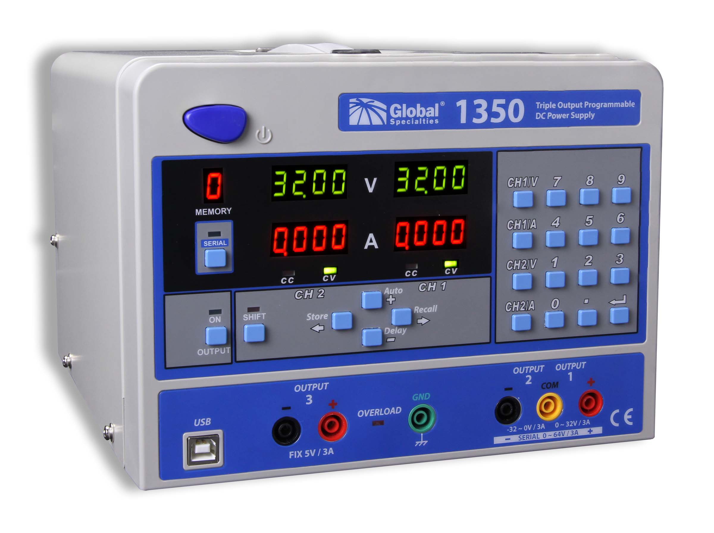Global Specialties 1350 Triple Output Programmable DC Power Supply: 0-32V, 0-3A (2) & 5V, 3A Photo