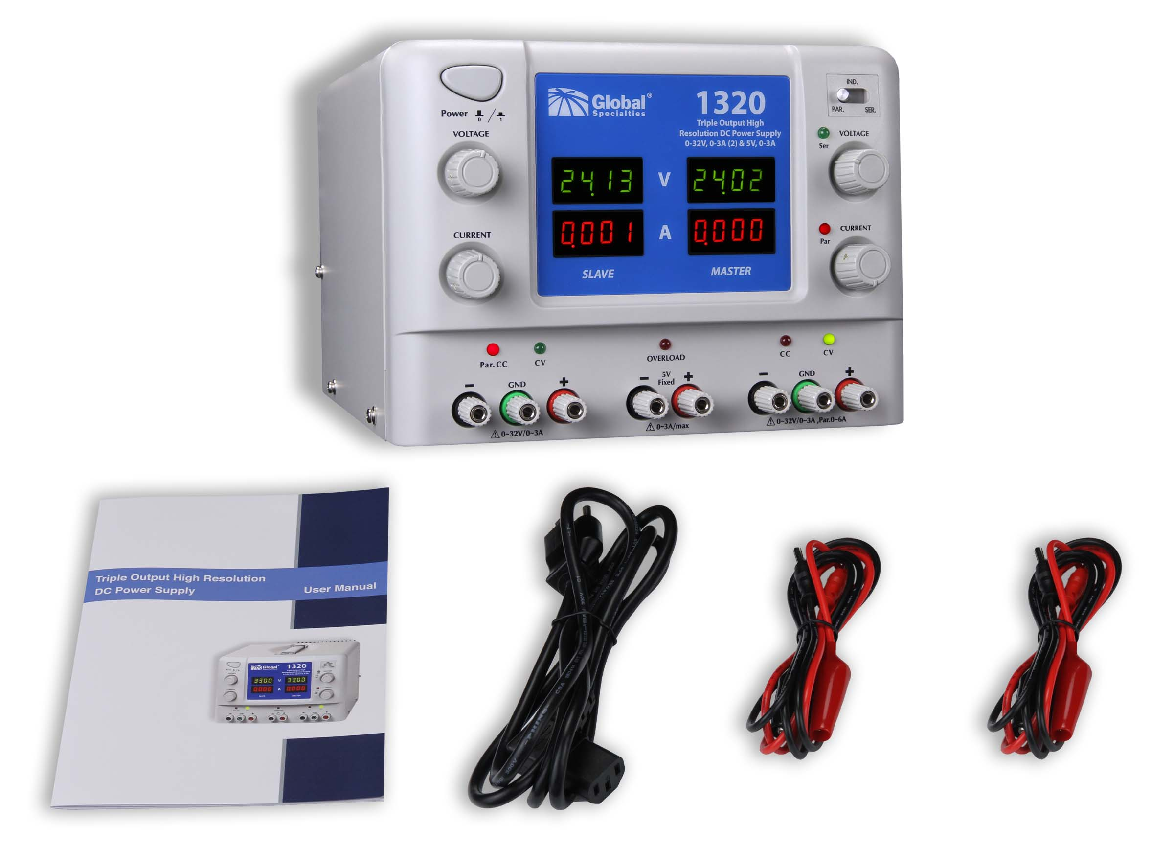Global Specialties 1320 Triple Output High Resolution DC Power Supply: 0-32V, 0-3A (2) & 5V, 3A Photo