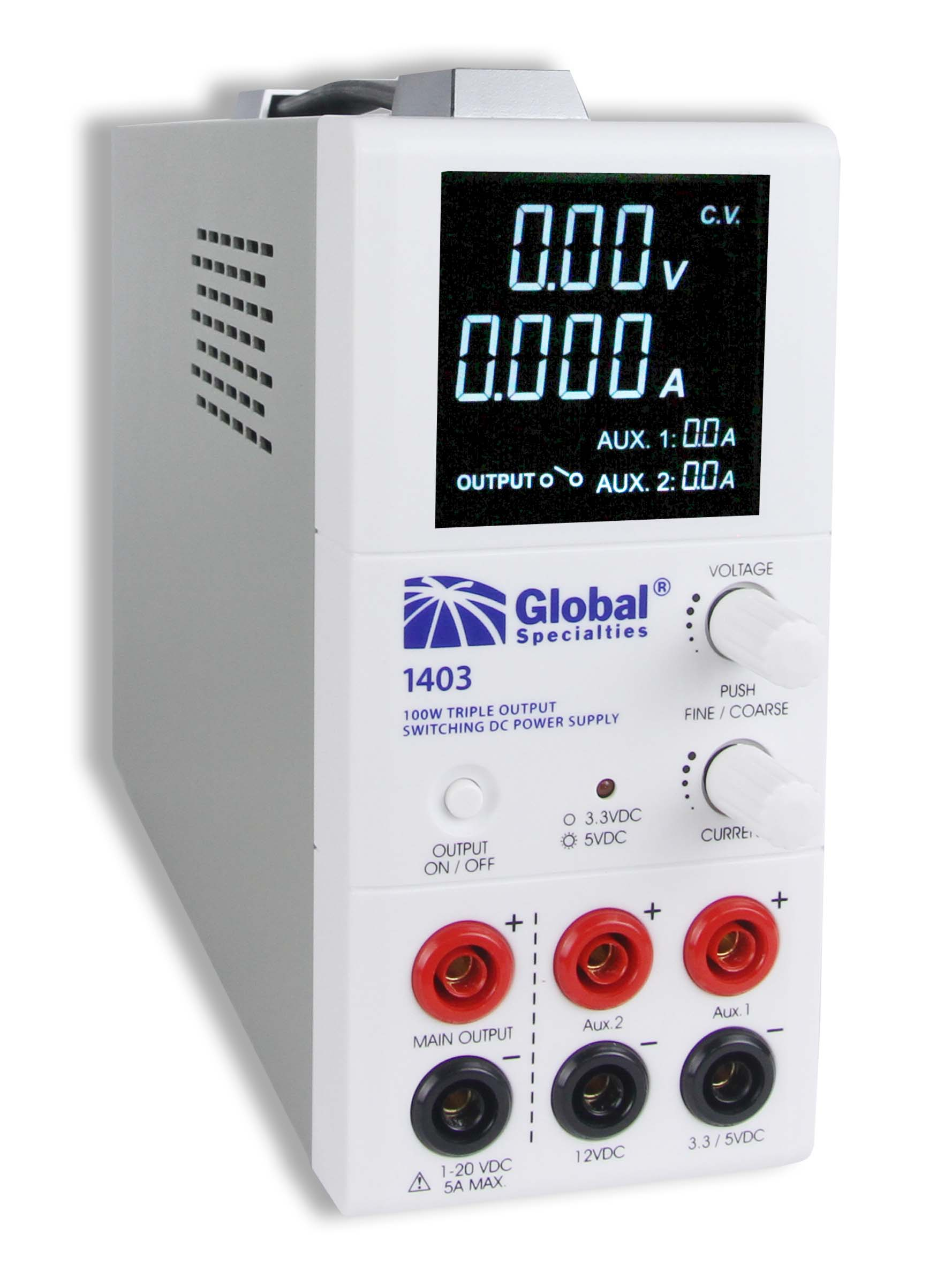 Global Specialties 1403 Triple Output Switching DC Power Supply: 1-20 V, 0-5 A & 3.3/5 V, 2 A & 12 V, 1 A Photo
