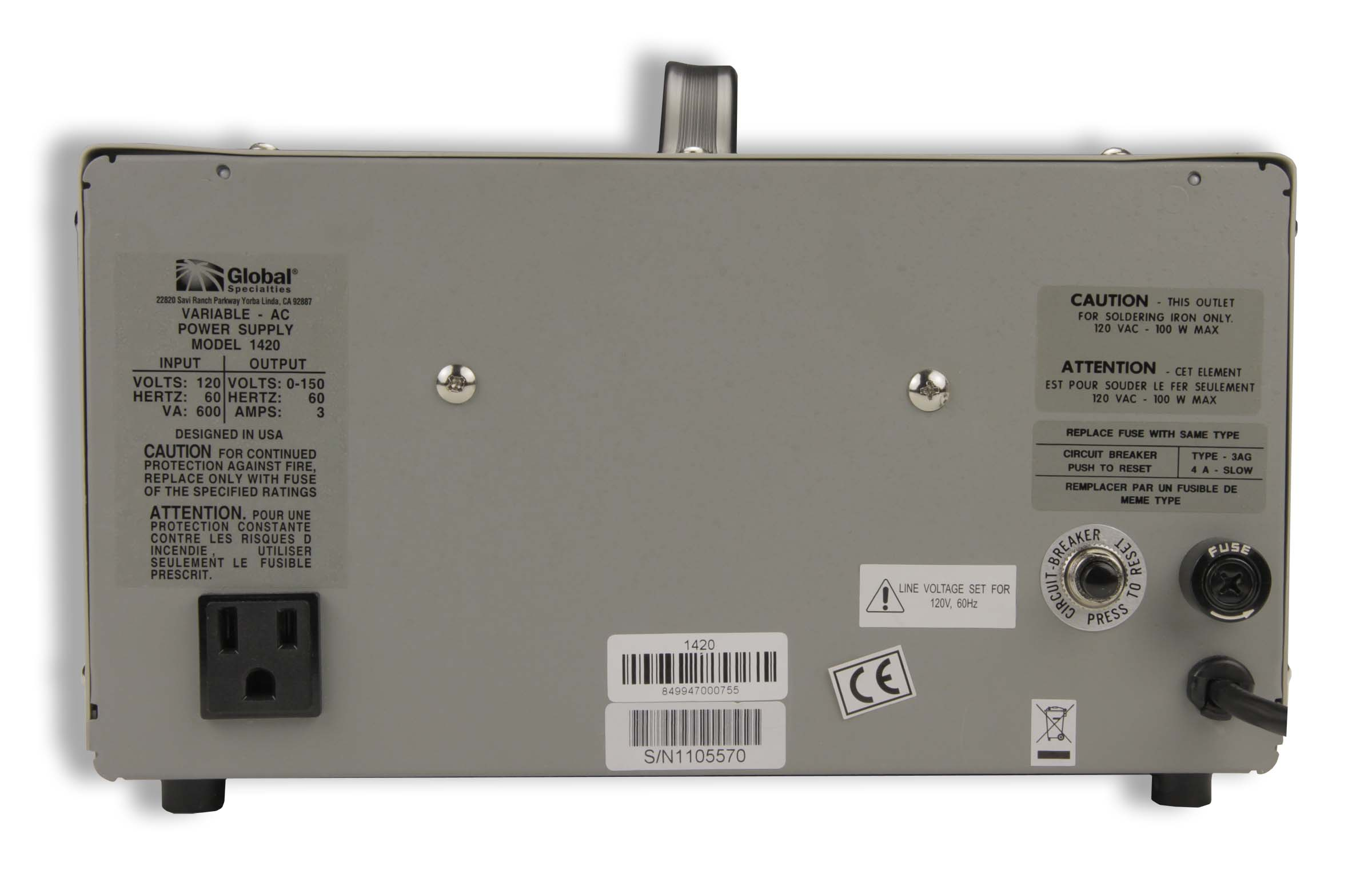 1420: Variable AC Power Supply: 0-150 VAC, 0-3 A