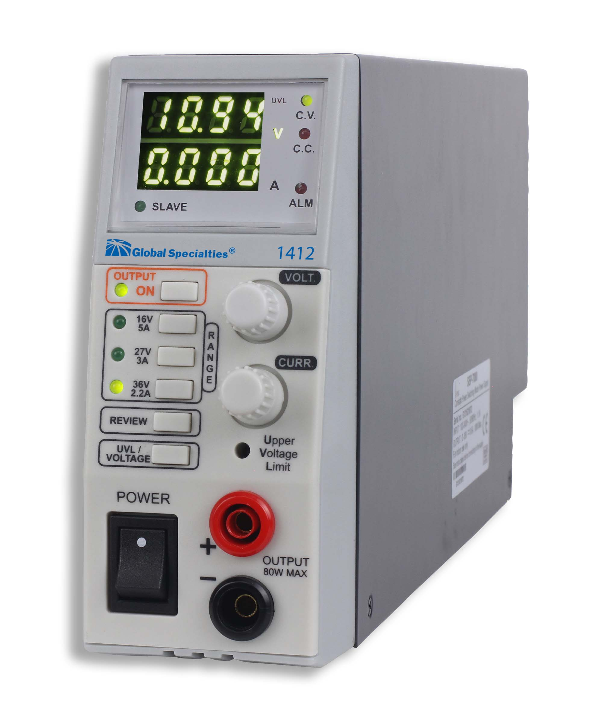 Global Specialties 1412 80 W Triple Range Switching DC Power Supply: 16V, 5A / 27V, 3A / 36V, 2.2A Photo