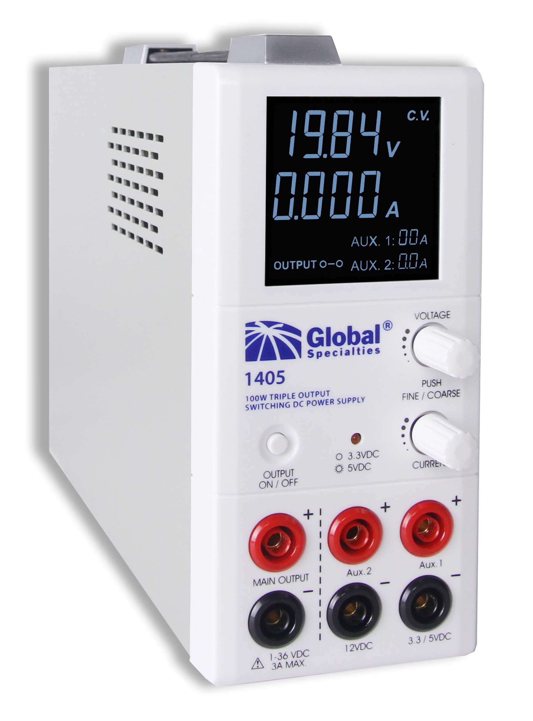 Global Specialties 1405 Triple Output Switching DC Power Supply: 1-36 VDC, 0-3 A & 3.3/5 VDC, 2 A & 12 V, 1 A Photo