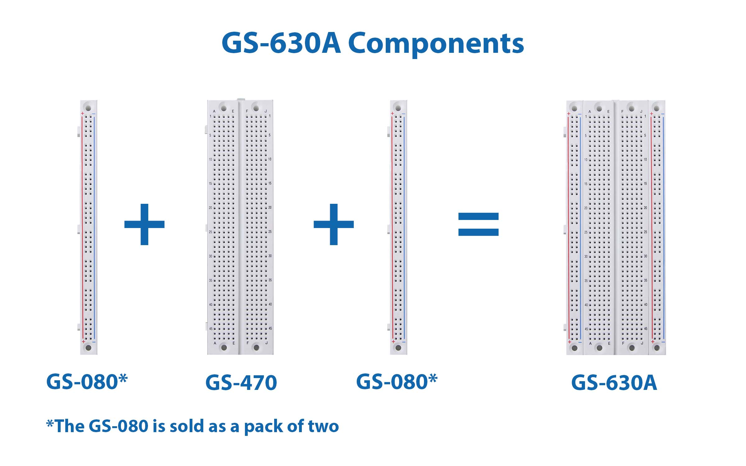 Global Specialties GS-630A Solderless Breadboard, 630 Tie-Points, with Bus Strip Photo